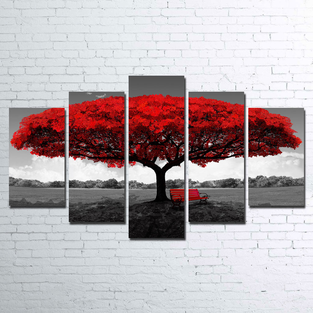 Red Tree 5 Piece Canvas Set