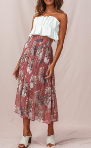 DUSTY ROSE PLEATED MIDI SKIRT