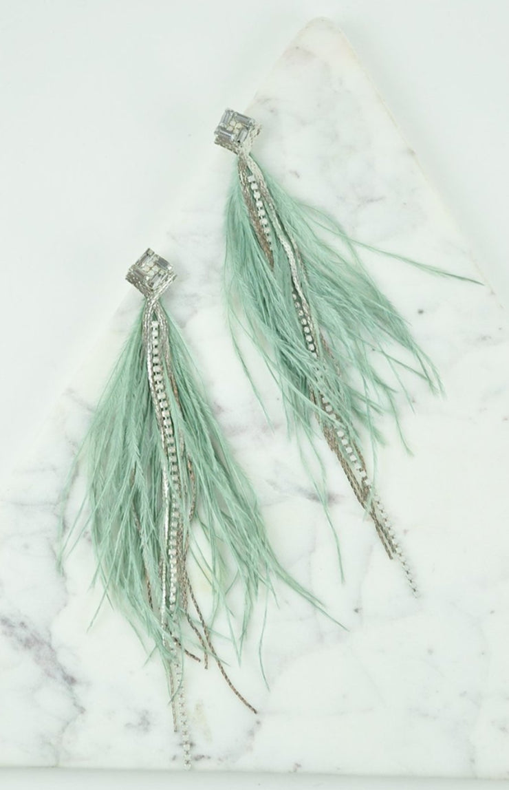 FEATHER EARRINGS - GREEN