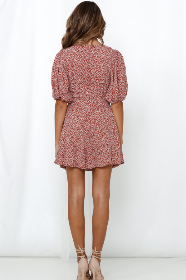 FLORAL BOW TIE DRESS - RUST