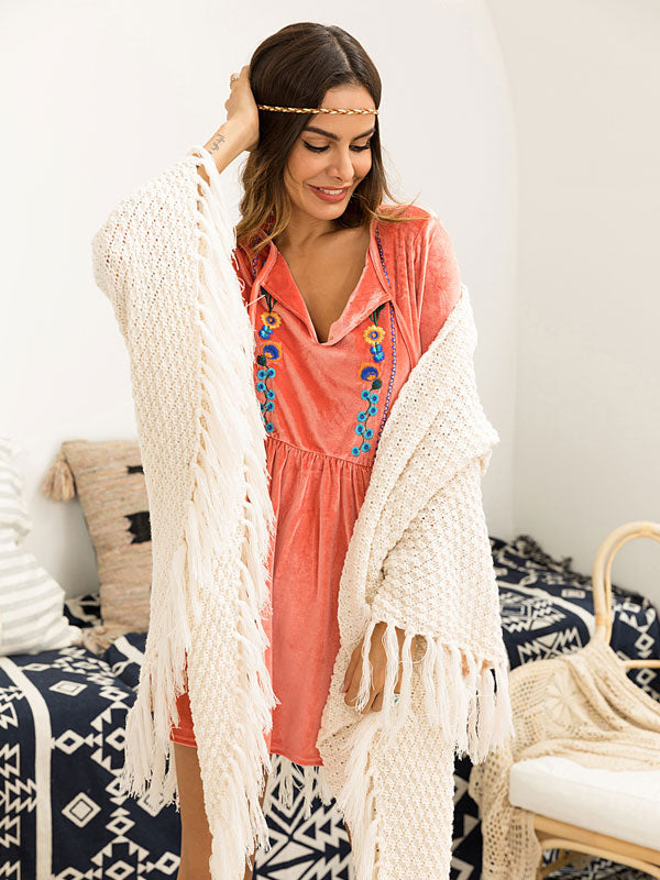 Tassel Shawl Sweater