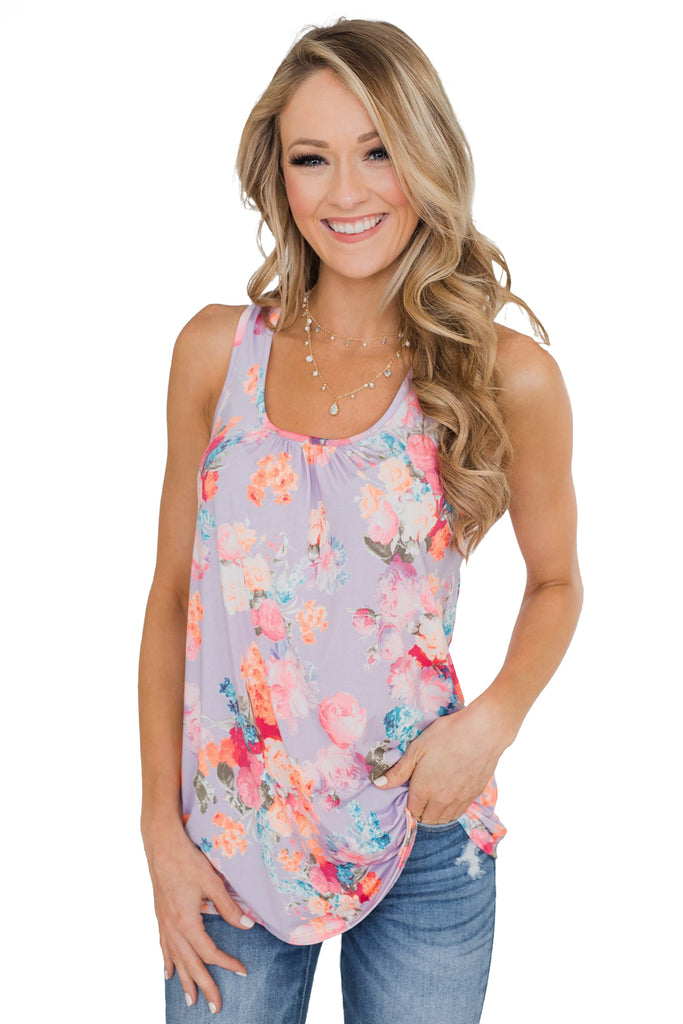 Purple Floral Summer Tank