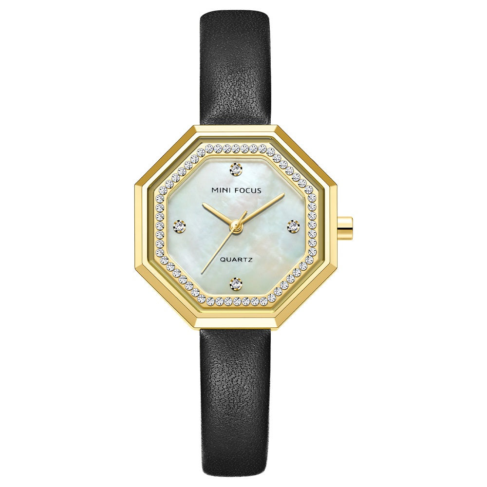 Fashion light luxury exquisite shell shell shell with waterproof cowhide strap for women's Watch