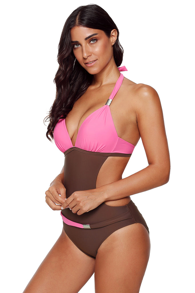 Rosy Push-up Halter One-piece Swimwear