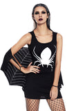Black Jersey Dress Spiderweb Cosplay Costume