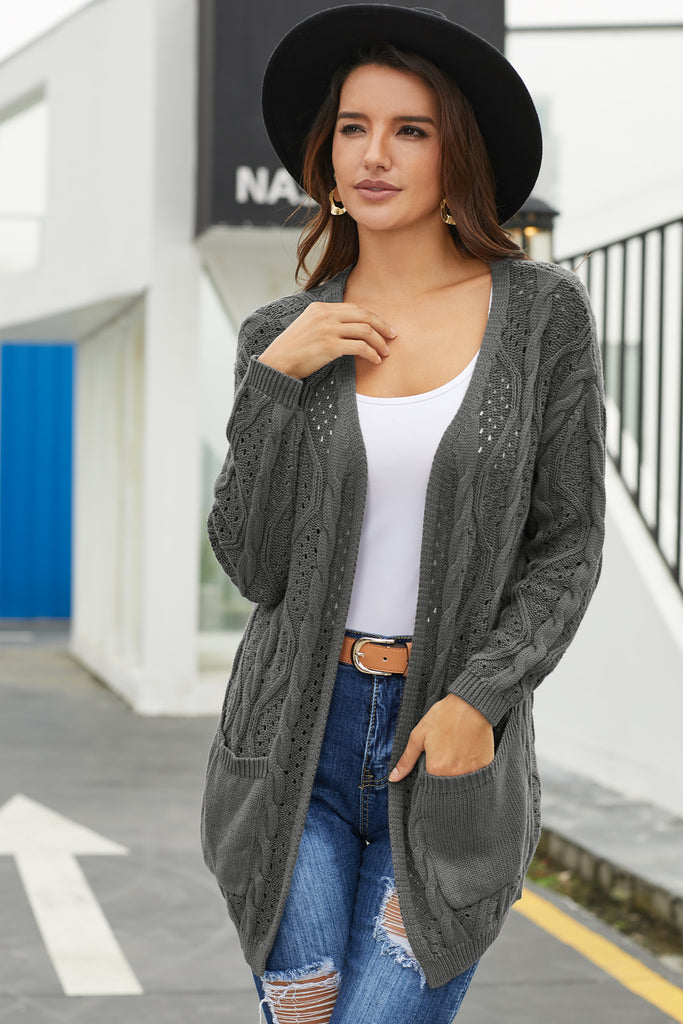 Gray Hollow Out Open Front Cardigan with Pockets