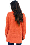 Orange Cozy Fall Popcorn Pullover Sweater