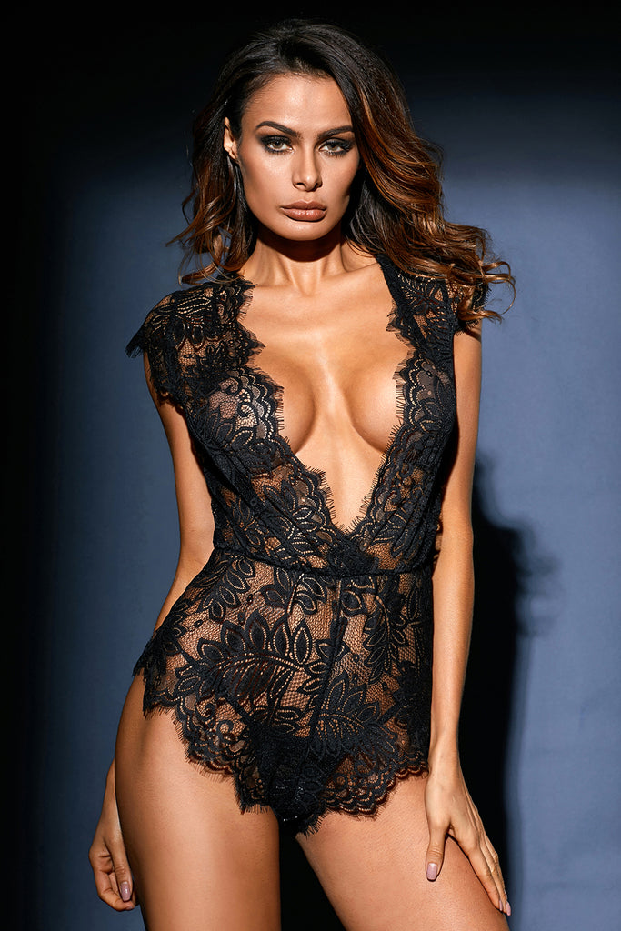 Plunging Eyelash Lace Teddy Lingerie