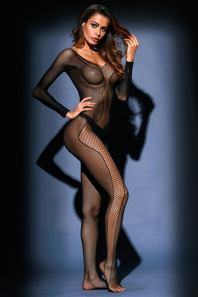 Black Asymmetric Fishnet Insert Long Sleeve Bodystocking