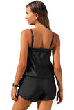 Black Casual Romper Style One-piece Swimsuit