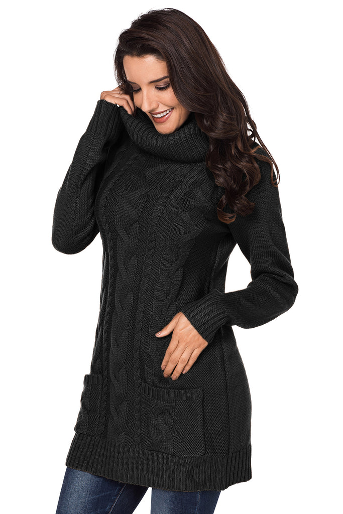 Black Cowl Neck Cable Knit Sweater Dress