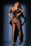 Pothole Cutout Off Shoulder Lace Bodystocking