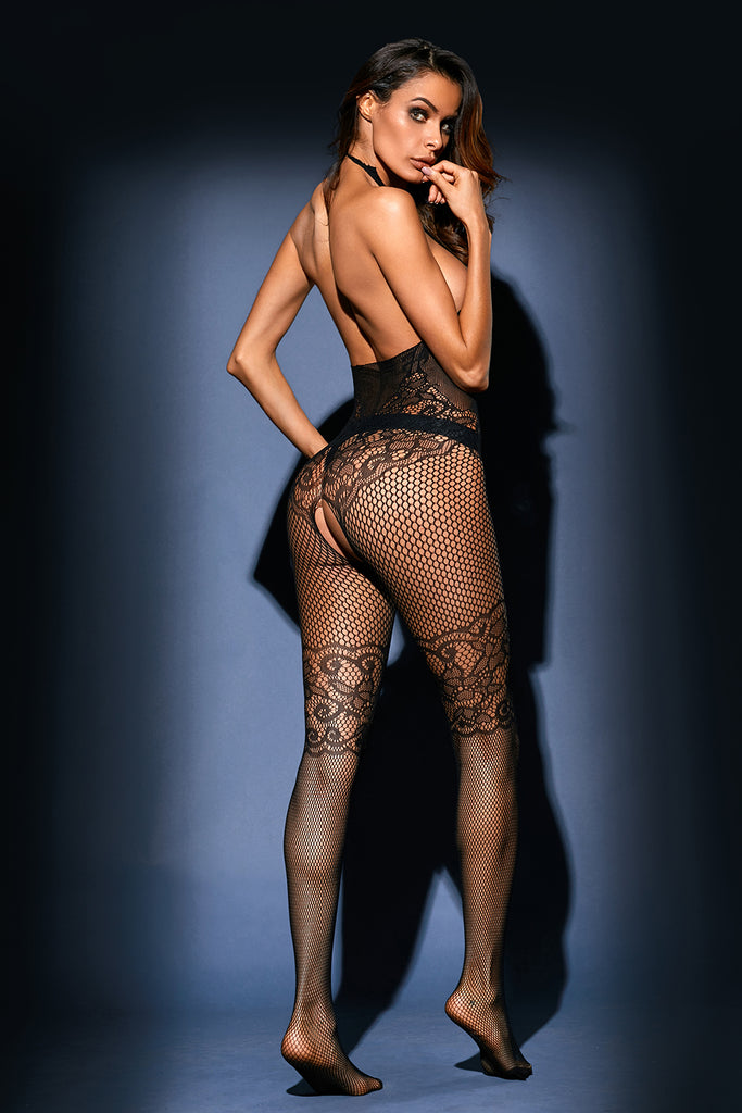Black Sheer Bodystocking with Print