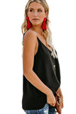 Black Spaghetti Strap Buttoned Tank Top