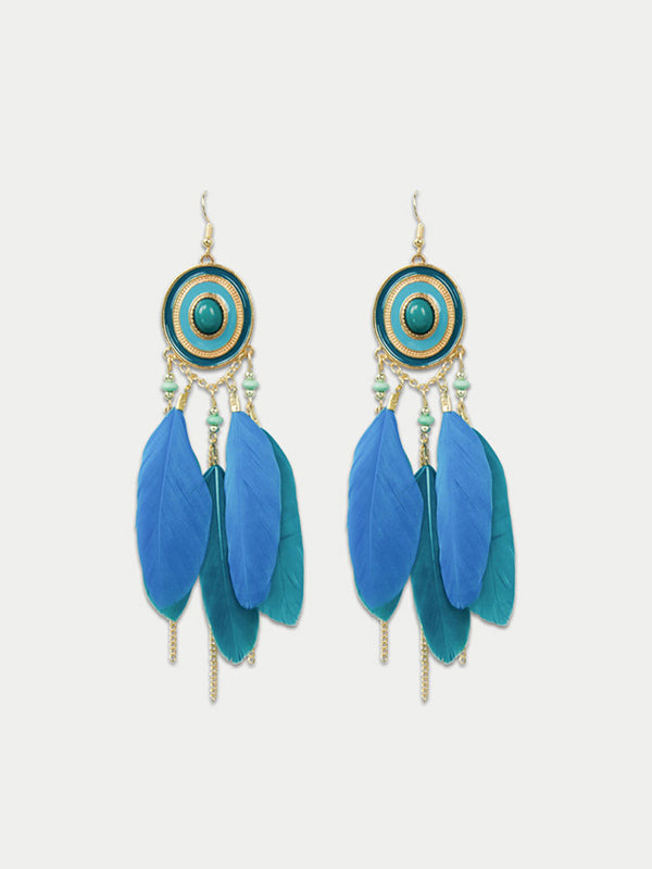 Blue feather earing for vacation