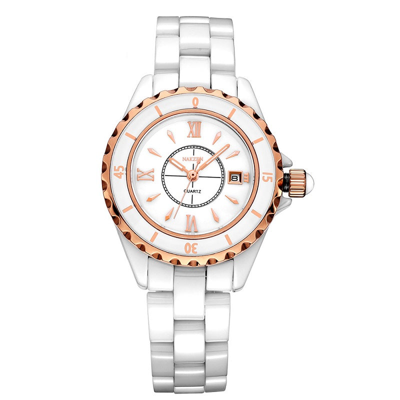 Large Dial Ceramic Strap Women's Watch