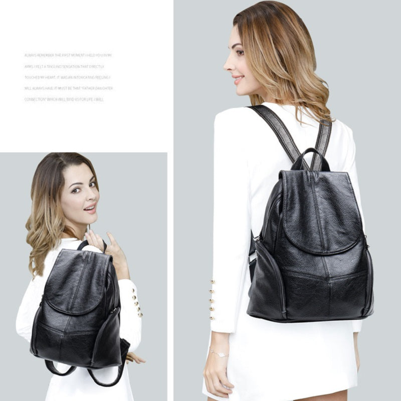 Casual Soft Leather Black Backpack