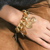 Retro punk exaggerated chain coin ladies bracelet