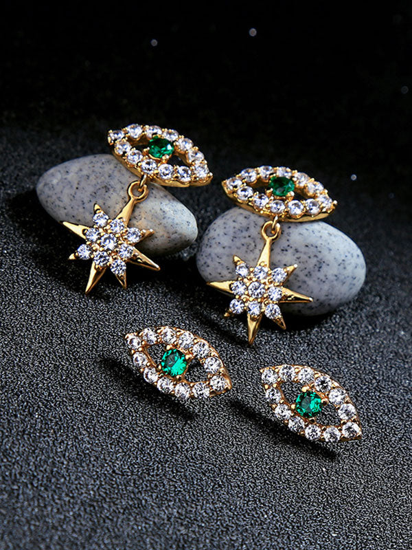 Green Eye Zirconium Inlaid Earrings