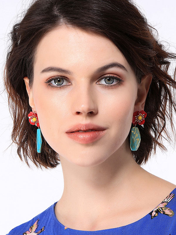 Irregular Acrylic Flower Pattern Earrings
