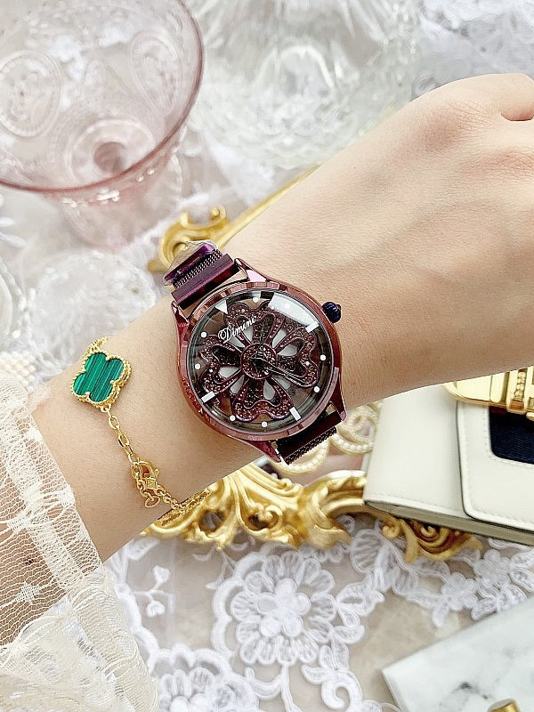 Hollow Transparent Magnet Strap Rhinestone Women's Watch