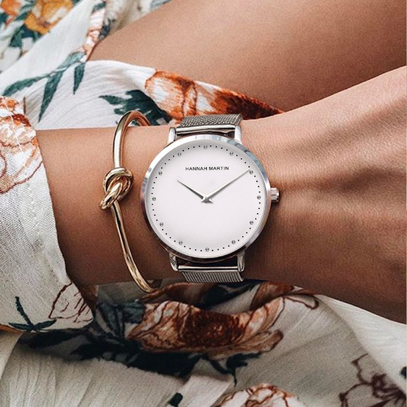 Simple Dial Mesh Strap Women's Watch