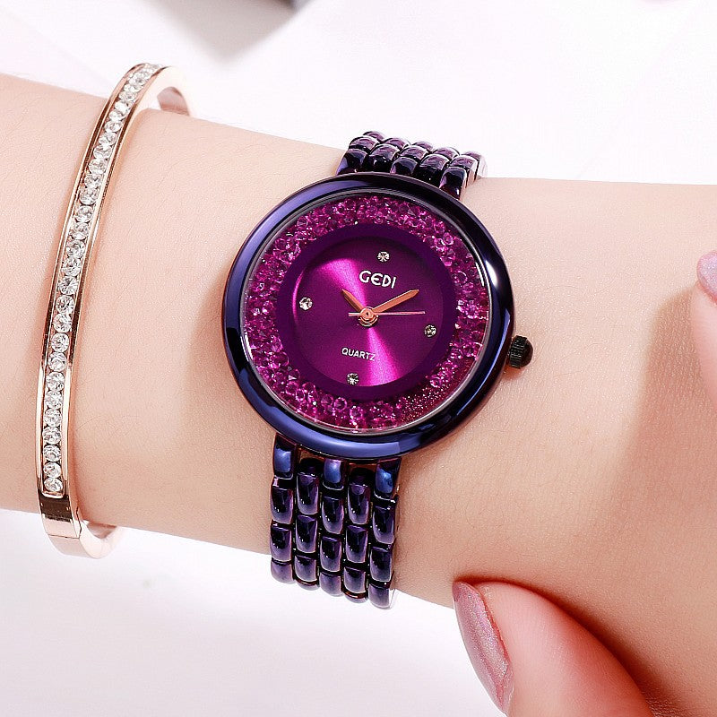 Rotatable Rhinestone Bracelet Women's Watch