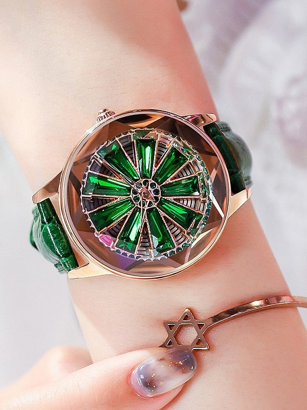 Women's Watch Rotatable Leather Strap
