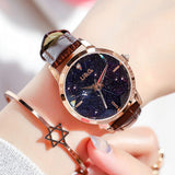 Starry Chassis Leather Strap Women's Watch