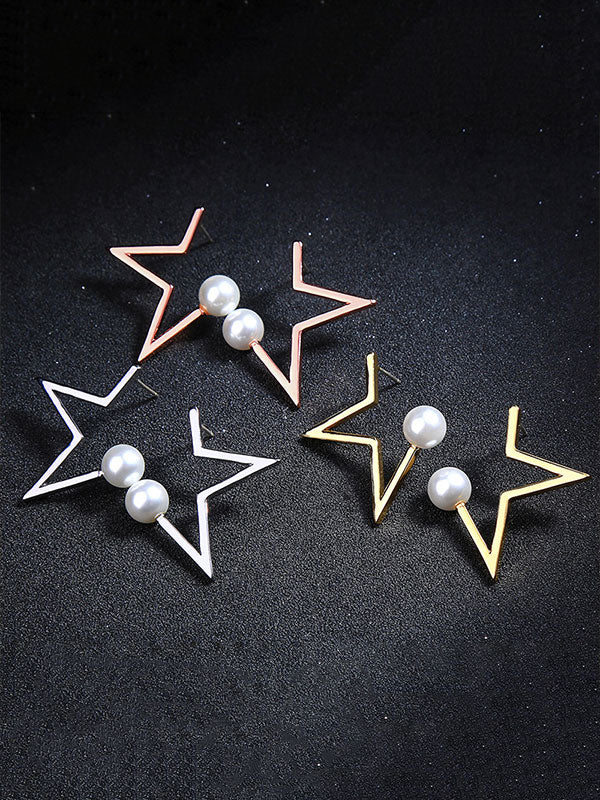 Star Pattern Combination Pearl Earrings