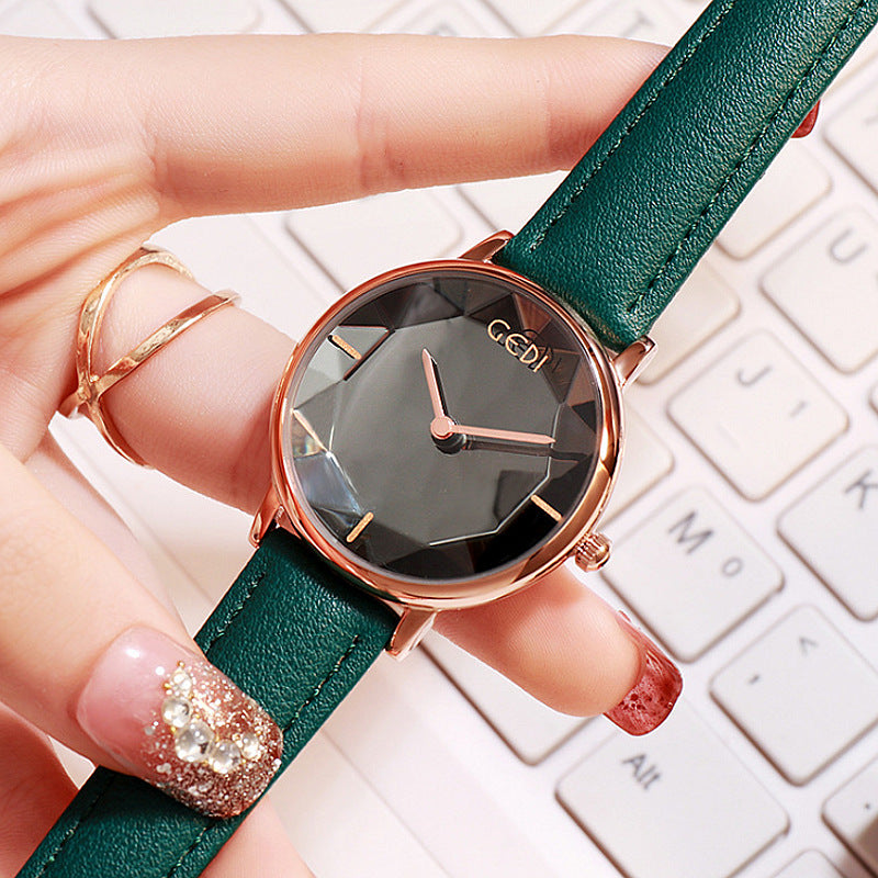 Personality Leather Strap Quartz Women's Watch