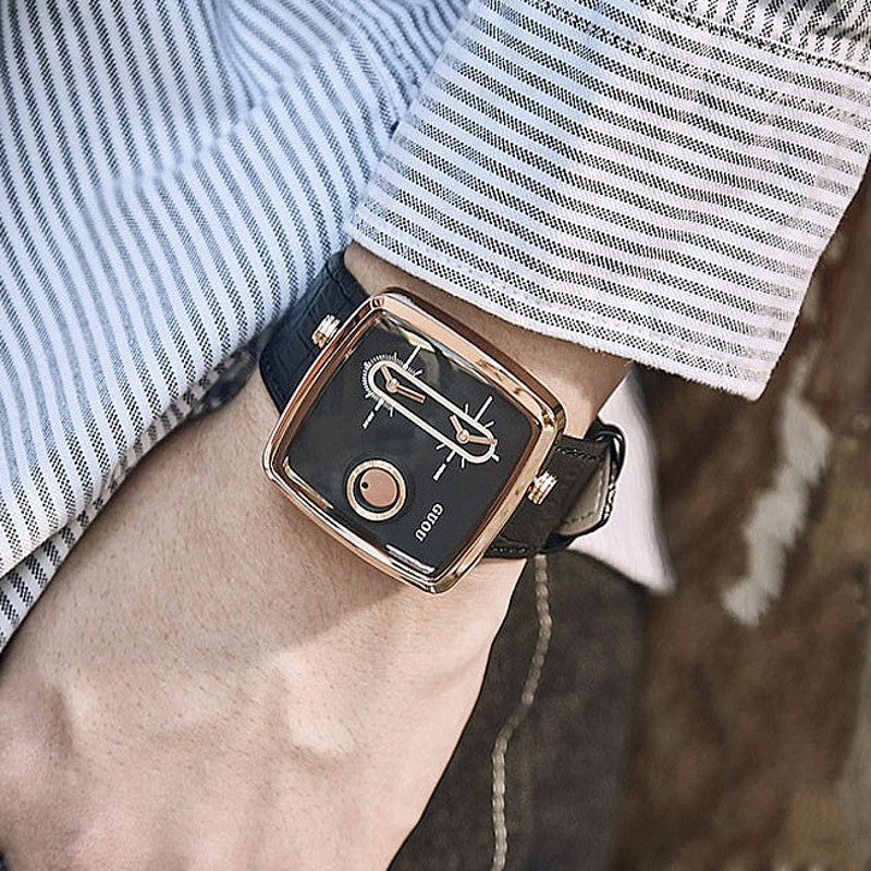 Men's Watch square pattern double time zone dial leather strap fashion quartz watch