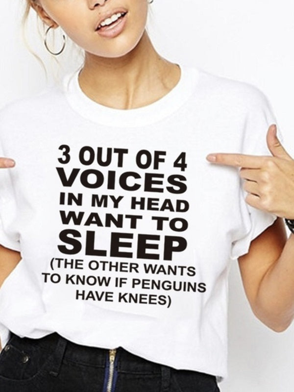 Want To Sleep Letter Print Fashion T-shirts