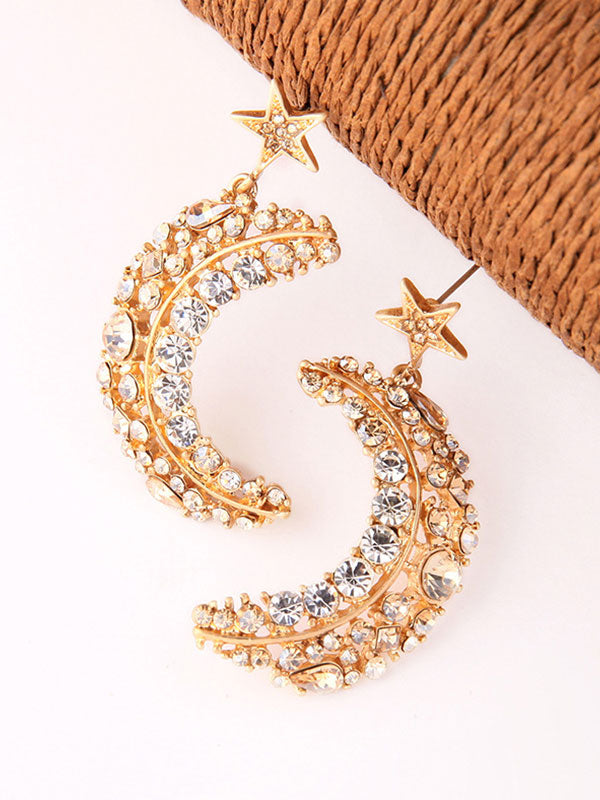 Twinkle Star&Moon Gold Earrings