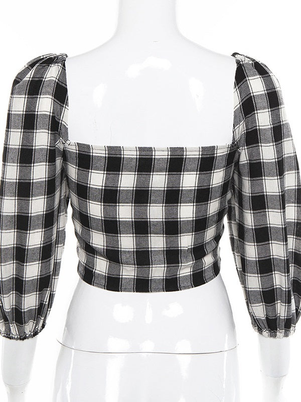 Plaid Seven-quarter Sleeve Strap Casual Top