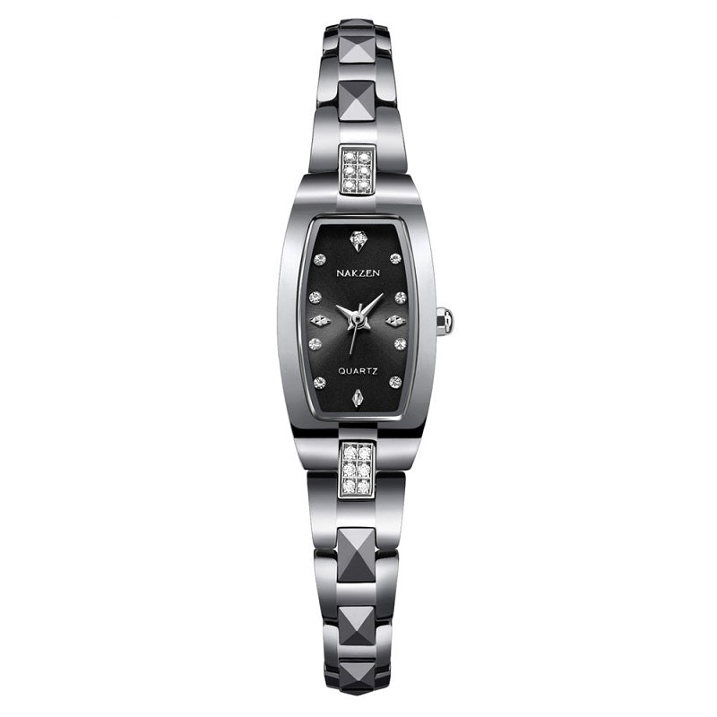 Rhinestone Scale Tungsten Steel Strap Women's Watch