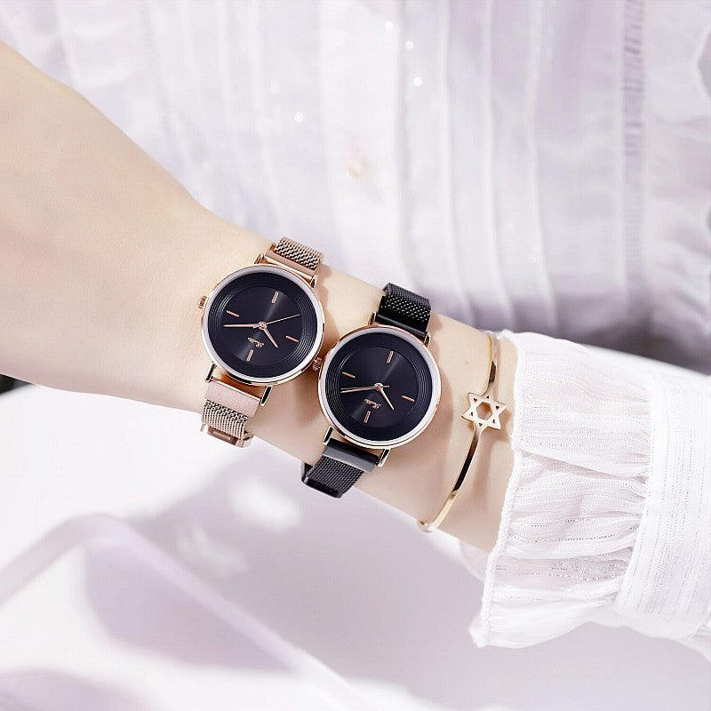 Women's Watch Rose gold printed round dial milan strap simple watch