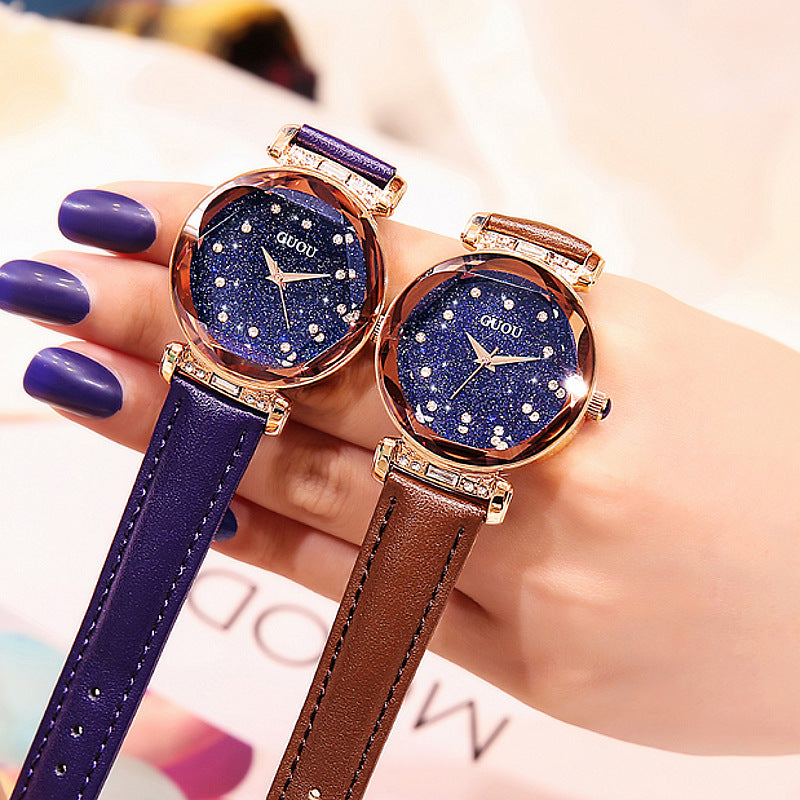 Women's Watch Full of Shining Stars Pattern large dial leather strap elegant watch