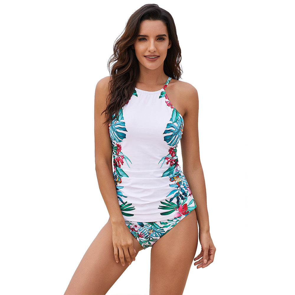 Women's bubble conservative printed one-piece swimsuit
