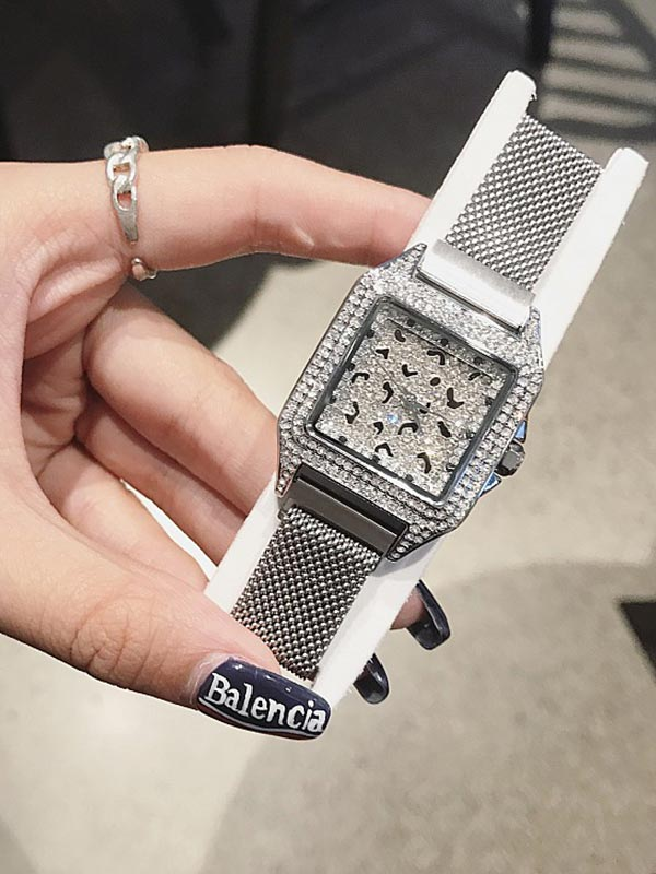 Stainless Steel Iron Strap Square Women's Watch