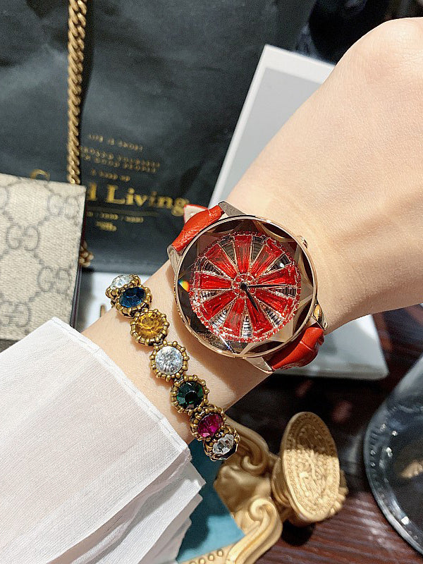Big Turntable Leather Women's Watch