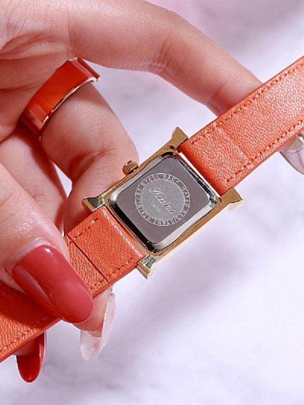 5 Pcs Set Casual Leather Strap Women's Watch