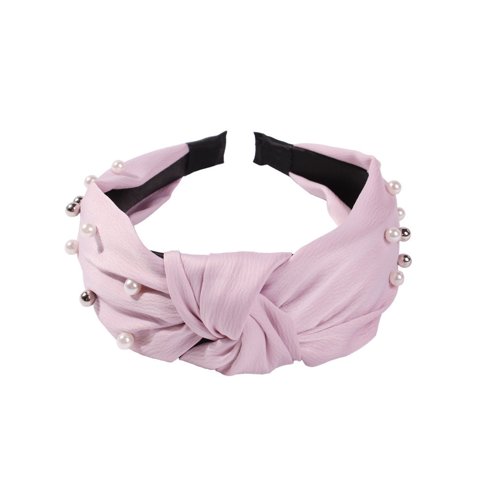 Wide-brimmed Bow Inlaid Imitation Pearl Headband