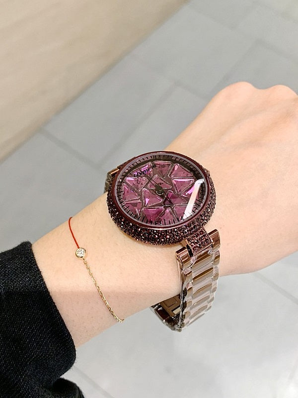 Women's Watch Shining&Colorful Triangle Pattern dial stainless steel strap elegant watch