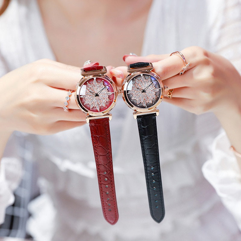 Rotatable Flower Dial Women's Watch