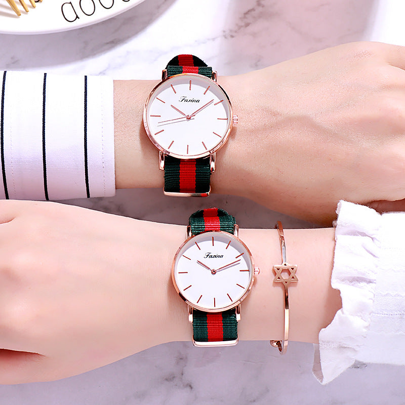 Simple Canvas Strap Couple Watch Women's Watch