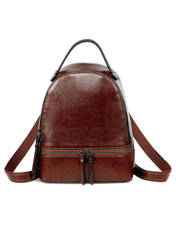 Retro Oil Wax Leather Women's Backpack