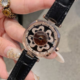 Rotatable Dial Four-Leaf Pattern Women's Watch