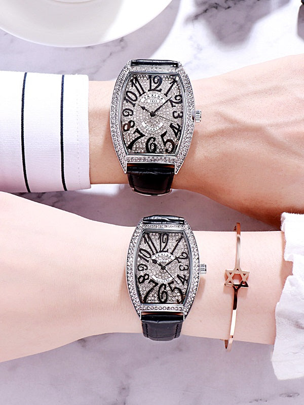 Women's watch Barrel shape with siamond leather strap couple fashion quartz watch