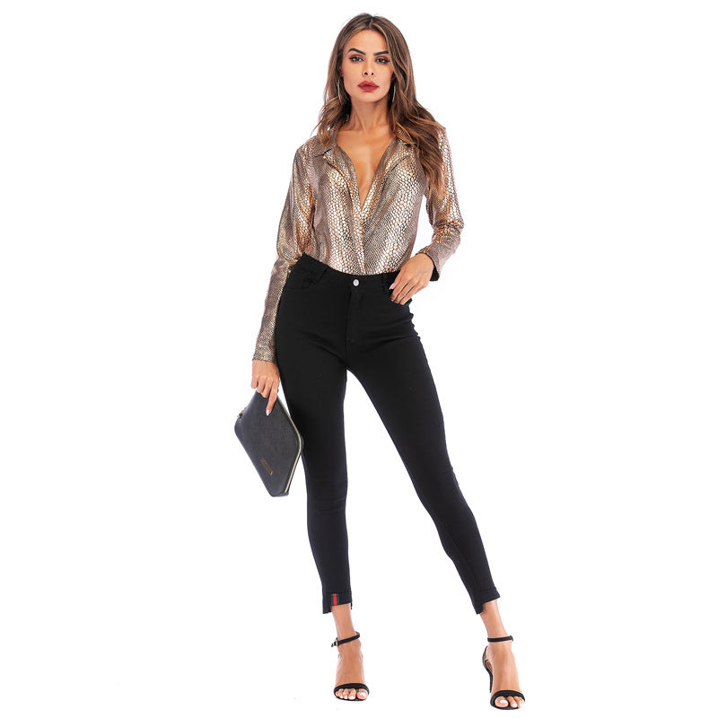 Deep V Leopard Jumpsuit Slim Long Sleeve T-shirt